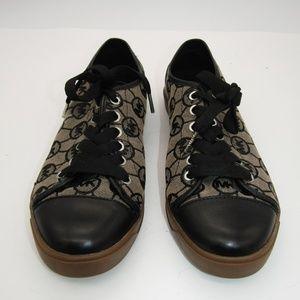 Michael Kors Black & Tan Monogram Sneakers 9